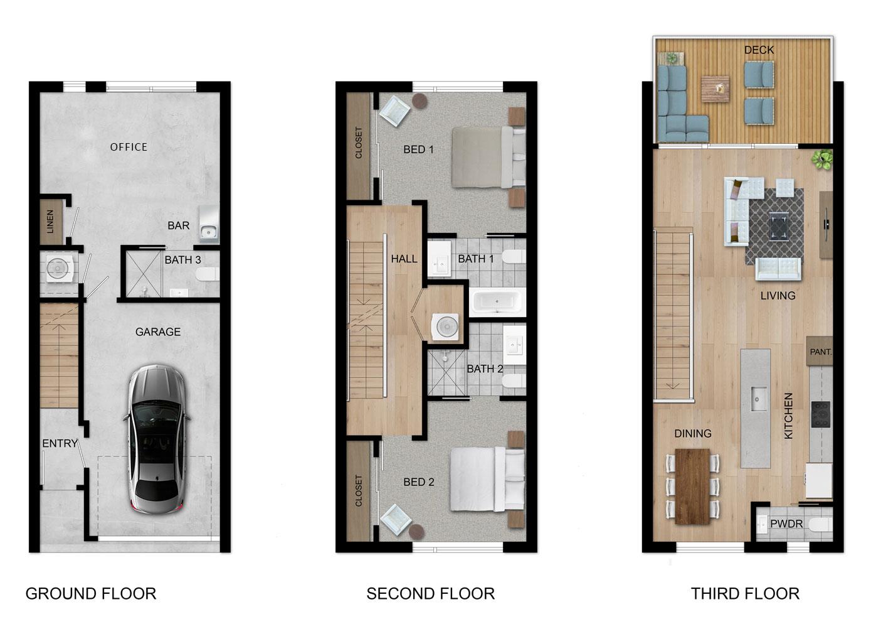 Excellent 3 Story 3 Bed Lofts For Sale The Walk On Bainbridge Interior Design Ideas Helimdqseriescom